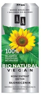 AA Bio Natural Vegan koncentrat Detox Słonecznik 15 ml + AA Bio Natural Vegan woda micelarna Aloes 50 ml GRATIS!!!