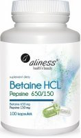 Aliness Betaine HCL, Pepsyna 650/150 mg x 100 kapsułek